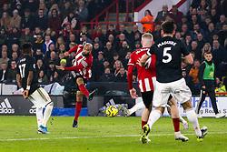 David McGoldrick of Sheffield United shoots at goal - Mandatory by-line: Robbie Stephenson/JMP - 24/11/2019 - FOOTBALL - Bramall Lane - Sheffield, England - Sheffield United v Manchester United - Premier League