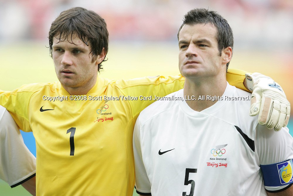 10 August 2008: Jacob Spoonley (NZL) (1) and Ryan Nelsen (NZL).  The men's Olympic soccer team of Brazil defeated the men's Olympic soccer team of New Zealand 5-0 at Shenyang Olympic Sports Center Wulihe Stadium in Shenyang, China in a Group C round-robin match in the Men's Olympic Football competition.