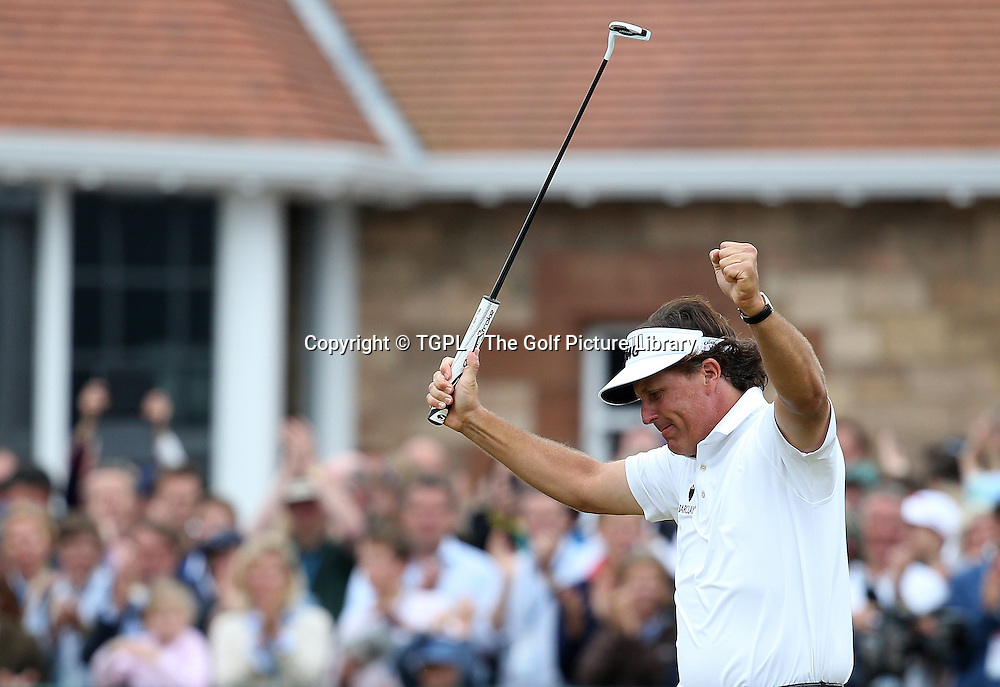 Phil MICKLESON (USA) celebrates after making birdie at the 18th to become Open Champion for the first time during fourth round Open Championship 2013,Muirfield,Gullane,East Lothian,Scotland.