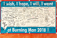 I wish, I hope, I will, I want at Burning Man 2018 sign.