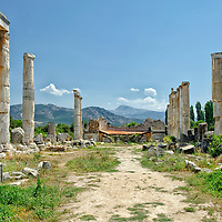 Aphrodisias. Turkey. View of the Temple of Aphrodite, which dates from the 1st century BC. Built of marble, the temple of Ionic order has 14 columns standing of its original 38 (8 by 13). In the 2nd century AD the temple was enclosed by colonnaded court.  The temple was converted into a Byzantine Christian basilica in the 5th century which has helped preserved the remains.