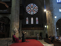 Wednesday 2nd October 2016.<br /> St. George's Cathedral,<br /> Cape Town,<br /> Western Cape,<br /> South Africa.<br /> <br /> #SaveSouthAfrica Silent Prayer Vigil In Cape Town!<br /> <br /> A Religious Leader says a prayer during a special service after Concerned Citizens and Religious Leaders held a silent protest at St. George's Cathedral in Cape Town.<br /> <br /> Concerned Religious Leaders and other South Africans gathered together in silent protest in support of the call to #SaveSouthAfrica from 'the acute social crisis that has been brought about by corruption, mismanagement and political intrigue' as reported nationwide in the news. The campaign was formed under the banner of holding government leaders accountable to the Constitution and the values they have pledged to uphold as representatives of the people. The #SaveSouthAfrica Silent Prayer vigil was held at St. George's Cathedral in Cape Town, South Africa on Wednesday 2nd November 2016.<br /> <br /> Picture By:  Mark Wessels / RealTime Images.