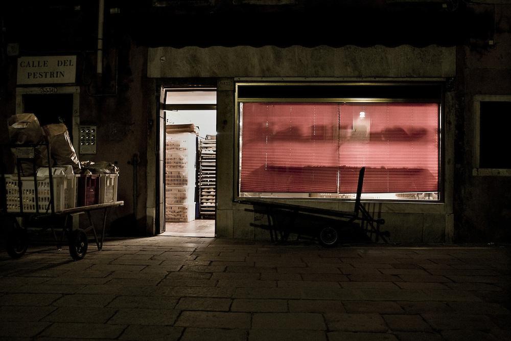 Italian Bakery prepairing to open up early morning.