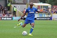 AFC Wimbledon midfielder Jimmy Abdou (8) passing the ball during the EFL Sky Bet League 1 match between AFC Wimbledon and Oldham Athletic at the Cherry Red Records Stadium, Kingston, England on 21 April 2018. Picture by Matthew Redman.