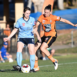 BRISBANE, AUSTRALIA - OCTOBER 30: Emily Gielnik of the Roar tackles Natalie Tobin of Sydney during the round 1 Westfield W-League match between the Brisbane Roar and Sydney FC at Spencer Park on November 5, 2016 in Brisbane, Australia. (Photo by Patrick Kearney/Brisbane Roar)