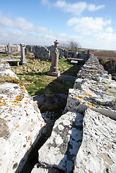 Dirliot Cemetery. Historian Ashley Cowie at the 'The Devil's Gold' in Dirlot, Caithness. He is doing a seven part series for The Scottish Sun on Scotland's treasure hunts at the end of April..©Michael Schofield.