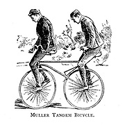 Two men attempting to ride a Muller Tandem Bicycle From Wheels and Wheeling; An indispensable handbook for cyclists, with over two hundred illustrations by Porter, Luther Henry. Published in Boston in  1892