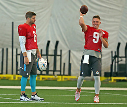August 28, 2017 - USA - Miami Dolphins quarterbacks Jay Cutler (6) and David Fales (9) on Monday, Aug. 28, 2017 at the Miami Dolphins training facility in Davie, Fla. (Credit Image: © Charles Trainor Jr/TNS via ZUMA Wire)