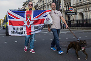 Loyalists march to Downing Street via Parliament Square to demonstrate against the Northern Ireland Protocol between the United Kingdom and the European Union on 9th October 2021 in London, United Kingdom. The Northern Ireland Protocol was agreed in Brexit talks between the UK and the EU in order to protect the 1998 Good Friday Agreement and it was implemented so as to avoid a hard border between Northern Ireland and the Republic of Ireland.