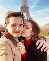 """Brooklyn Beckham releases a photo on Instagram with the following caption: """"Me and my girl. Luckiest man in the world. Love you baby \ud83d\ude18"""". Photo Credit: Instagram *** No USA Distribution *** For Editorial Use Only *** Not to be Published in Books or Photo Books ***  Please note: Fees charged by the agency are for the agency's services only, and do not, nor are they intended to, convey to the user any ownership of Copyright or License in the material. The agency does not claim any ownership including but not limited to Copyright or License in the attached material. By publishing this material you expressly agree to indemnify and to hold the agency and its directors, shareholders and employees harmless from any loss, claims, damages, demands, expenses (including legal fees), or any causes of action or allegation against the agency arising out of or connected in any way with publication of the material."""