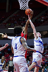 NORMAL, IL - February 22:  Jaycee Hillsman grabs the rebound from Garrett Sturtz during a college basketball game between the ISU Redbirds and the Drake Bulldogs on February 22 2020 at Redbird Arena in Normal, IL. (Photo by Alan Look)
