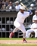 CHICAGO - AUGUST 25:  Willie Calhoun #5 of the Texas Rangers bats against the Chicago White Sox during Players Weekend on August  25, 2019 at Guaranteed Rate Field in Chicago, Illinois.  (Photo by Ron Vesely)  Subject:   Willie Calhoun