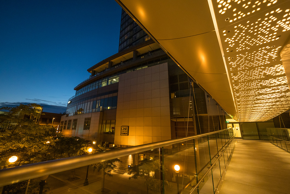 United States, Washington, Bellevue. Downtown buildings at dusk. Editorial Use Only.