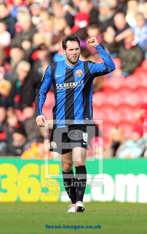 Picture by Paul Gaythorpe/Focus Images Ltd +447771 871632.09/02/2013.Jim O'Brien of Barnsley celebrates his goal during the npower Championship match at the Riverside Stadium, Middlesbrough.