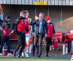 Broxburn Athletic manager Brian McNaughton cele at the end. Broxburn Athletic FC 3 v 0 Cowdenbeath, William Hill Scottish Cup 2nd Round replay played 26/10/2019 at Albyn Park, Greendykes Road, Broxburn.