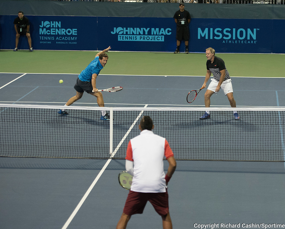 August 26, 2015; Celebrity Doubles Match featuring John McEnroe and Nick Kyrgios vs Patrick McEnroe and Jonas Bjorkman.<br /> Johnny Mac Tennis Project Benefit Night at Sportime Randall's Island, New York
