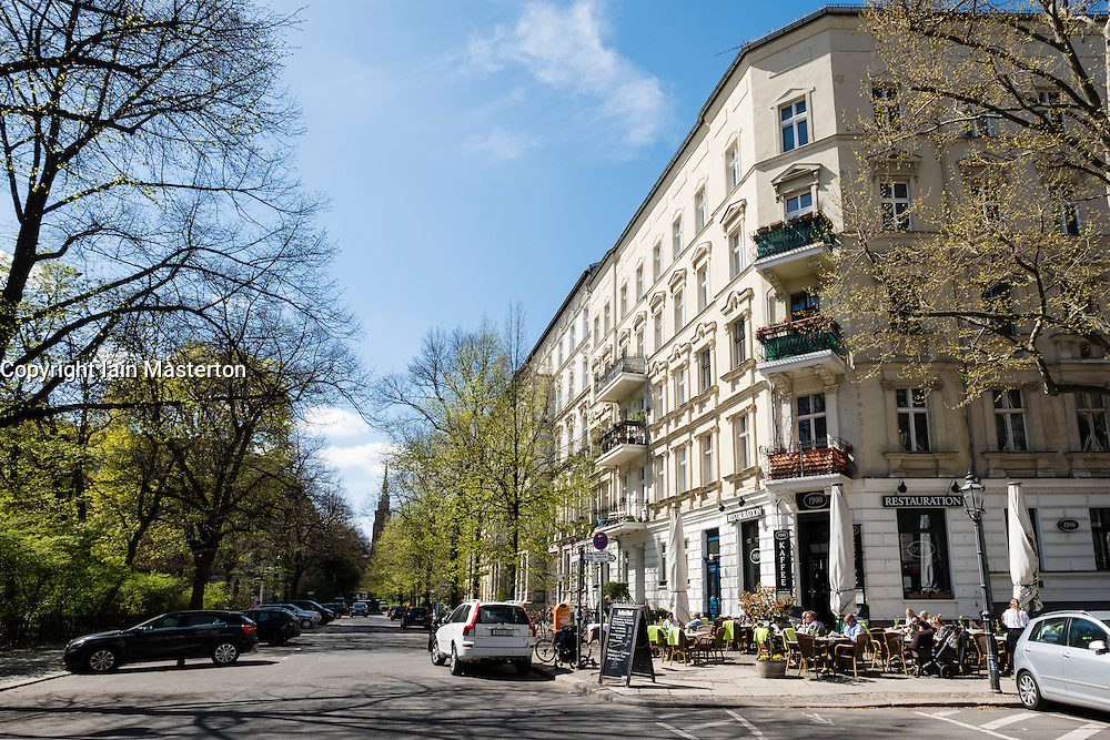 View of old apartment buildings on Kollwitzplatz in Prenzlauer Berg Berlin Germany