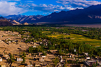Leh Valley near Thiksey, Ladakh, Jammu and Kashmir State, India. The green area to the right is the fertile area next to the Indus River.