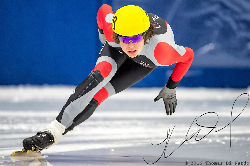 March 18, 2016 - Verona, WI - William Valentine, skater number 28 competes in US Speedskating Short Track Age Group Nationals and AmCup Final held at the Verona Ice Arena.
