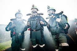 Liam Parish, Aiden Henderson and Kevin Watts. Mine Rescue Service at Crossgates Training Centre, Crossgates, Fife..Pic © Michael Schofield.