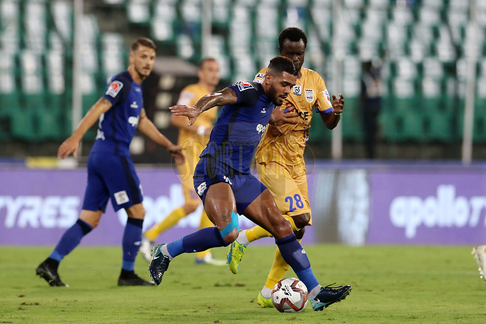 Raphael Augusto of Chennaiyin FC and Modou Sougou of Mumbai City FC in action during match 27 of the Hero Indian Super League 2018 ( ISL ) between Chennaiyin FC and Mumbai City FC  held at the Jawaharlal Nehru Stadium, Chennai, India on the 3rd November 2018<br /> <br /> Photo by: Vipin Pawar /SPORTZPICS for ISL
