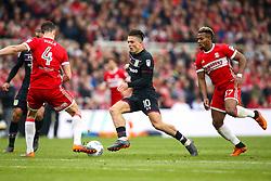 Jack Grealish of Aston Villa takes on Daniel Ayala of Middlesbrough - Mandatory by-line: Robbie Stephenson/JMP - 12/05/2018 - FOOTBALL - Riverside Stadium - Middlesbrough, England - Middlesbrough v Aston Villa - Sky Bet Championship