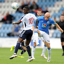 TELFORD COPYRIGHT MIKE SHERIDAN 15/9/2018 - Daniel Udoh of AFC Telford and Sam Minihan of Stockport battle for the ball during the Vanarama Conference North fixture between AFC Telford United and Stockport County.