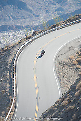 Juergen Ullrich riding his fathers 1915 Harley-Davidson heads up the steep mountain pass just out of Palm Desert on the Palms to Pines Scenic Byway on the last day of the Motorcycle Cannonball Race of the Century. Stage-15 ride from Palm Desert, CA to Carlsbad, CA. USA. Sunday September 25, 2016. Photography ©2016 Michael Lichter.