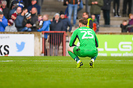 Jak Alnwick of Scunthorpe United (25) reacts to losing 3-2 during the EFL Sky Bet League 1 match between Scunthorpe United and Bradford City at Glanford Park, Scunthorpe, England on 27 April 2019.