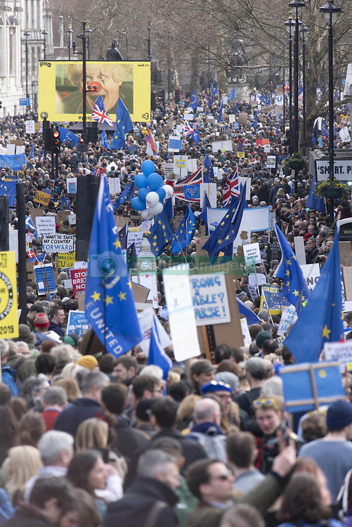March 23, 2019 - London, London, UK - London, UK.  Demonstrators take part in the Put It To The People March calling for a second referendum on the UK exiting the European Union. (Credit Image: © Ray Tang/London News Pictures via ZUMA Wire)