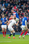 Twickenham, United Kingdom. 7th February, Louis PICAMOLES, collects the high ball during the England vs France, 2019 Guinness Six Nations Rugby Match   played at  the  RFU Stadium, Twickenham, England, <br /> © PeterSPURRIER: Intersport Images