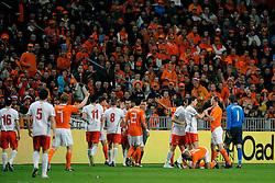 01-04-2009 VOETBAL: WK KWALIFICATIE NEDERLAND - MACEDONIE: AMSTERDAM<br /> Nederland wint met 4-0 van Macedonie / Opstootje met Nigel de Jong, Andre Ooijer en Gregory van der Wiel<br /> ©2009-WWW.FOTOHOOGENDOORN.NL
