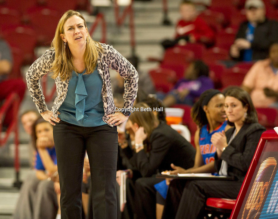 Jan 29, 2012; Fayetteville, AR, USA; Florida Gators head coach Amanda Butler reacts to a call during a game against the Arkansas Razorbacks at Bud Walton Arena. Arkansas defeated Florida 73-72 in the second overtime. Mandatory Credit: Beth Hall-US PRESSWIRE