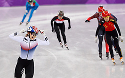 February 17, 2018 - Gangneung, South Korea - Short Track skater Minjeong Kor of Korea celebrates as she crossed the finish line for the gold medal in the  Ladies Short Track Speed Skating 1500M finals at the PyeongChang 2018 Winter Olympic Games at Gangneung Ice Arena on Saturday February 17, 2018. (Credit Image: © Paul Kitagaki Jr. via ZUMA Wire)