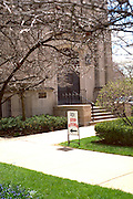 Church with sign advertising soup kitchen in basement.  Evanston Illinois USA