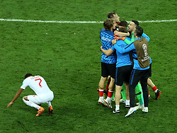 July 11, 2018 - Moscow, Russia - July 11, 2018, Moscow, FIFA World Cup 2018 Football, the playoff round. 1/2 finals of the World Cup. Football match Croatia - England at the stadium Luzhniki. Players of the national team of Croatia. (Credit Image: © Russian Look via ZUMA Wire)