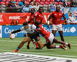 March 10, 2018 - Vancouver, British Columbia, U.S. - VANCOUVER, BC - MARCH 10: Paulin Riva (#6) of France fights off the tackle to score during Game # 3- Kenya vs France Pool C match at the Canada Sevens held March 10-11, 2018 in BC Place Stadium in Vancouver, BC. (Photo by Allan Hamilton/Icon Sportswire) (Credit Image: © Allan Hamilton/Icon SMI via ZUMA Press)