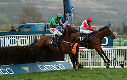 Pacha Du Polder ridden by jockey Miss Bryony Frost (right) on the way to winning the St. James's Place Foxhunter Challenge Cup Open Hunters' Chase during Gold Cup Day of the 2017 Cheltenham Festival at Cheltenham Racecourse.