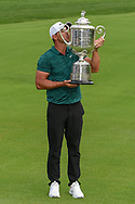 Brooks Koepka (USA) and The Wannamaker Trophy for winning the 100th PGA Championship at Bellerive Country Club, St. Louis, Missouri. 8/12/2018.<br /> Picture: Golffile | Ken Murray<br /> <br /> All photo usage must carry mandatory copyright credit (© Golffile | Ken Murray)