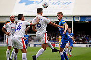 Luton Town defender Matthew Pearson (6)<br />  clears this header during  the EFL Sky Bet League 1 match between Peterborough United and Luton Town at London Road, Peterborough, England on 18 August 2018.