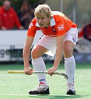 BLOEMENDAAL - Nick Meijer van Bloemendaal tijdens de hoofdklasse competietiewedstrijd heren tussen Bloemendaal en Laren (9-1).  Foto KOEN SUYK