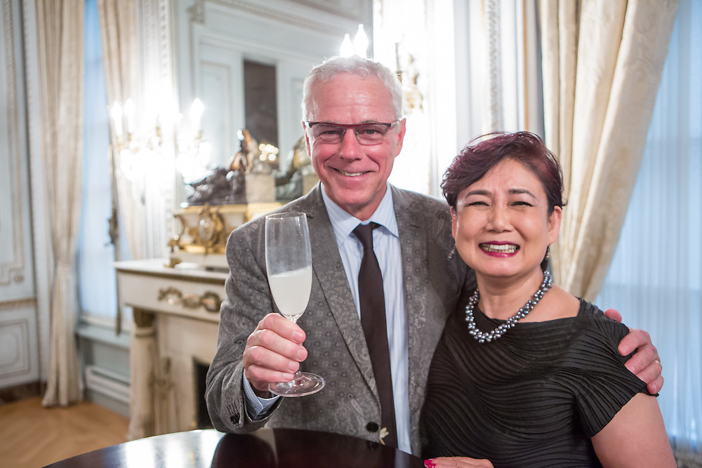 """New York, NY - 3 June 2016. Chef David Bouley and Saori Kawano after a ceremony awarding Bouley the title Japanese Cuisine Goodwill Ambassador for his work in bringing Japanese cuisine to the U.S. Kawano is co-author, with Don Gabor, of """"Chef's Choice: 22 culinary masters tell how Japanese food culture influenced their careers and cuisine."""""""