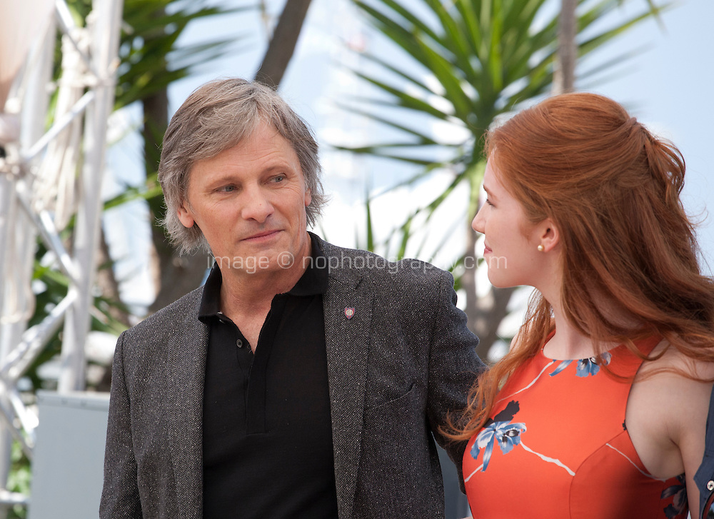 Actor Viggo Mortensen, actress Annalise Basso, at the Captain Fantastic film photo call at the 69th Cannes Film Festival Tuesday 17th May 2016, Cannes, France. Photography: Doreen Kennedy