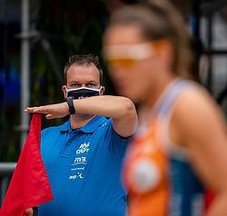 Line judge with mouth mask in action during the last day of the beach volleyball event King of the Court at Jaarbeursplein on September 12, 2020 in Utrecht.