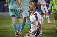 Andy Cook (Tranmere Rovers) sinks to his knees as he misses a chance go score and put Tranmere 3-0 up during the Vanarama National League match between Tranmere Rovers and Boreham Wood at Prenton Park, Birkenhead, England on 21 February 2017. Photo by Mark P Doherty.