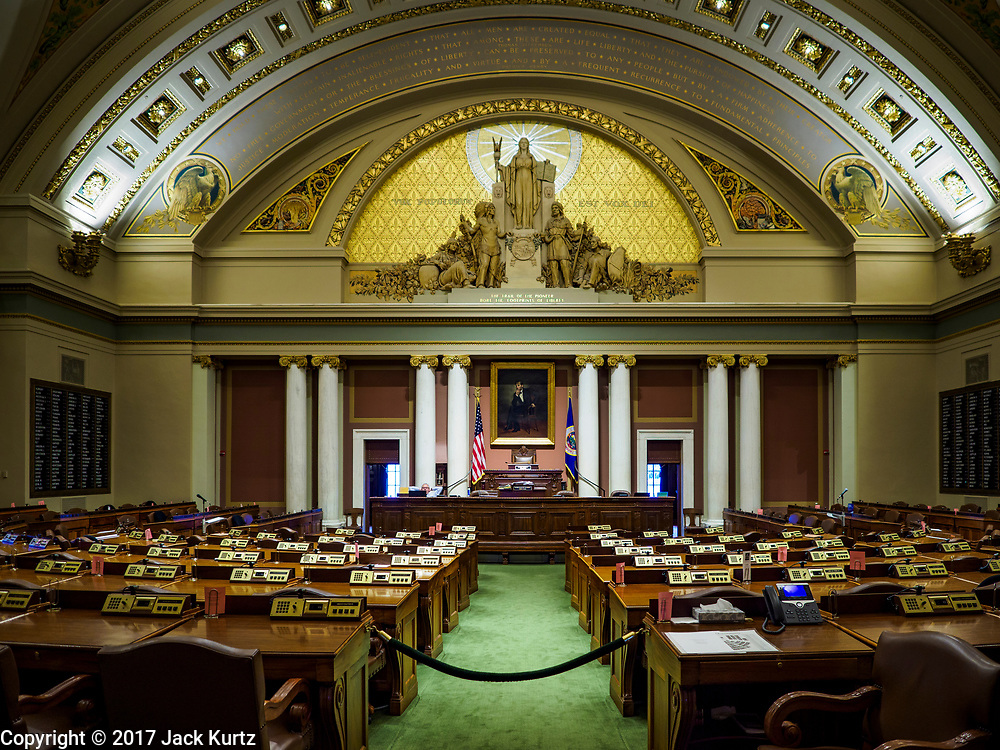 01 MAY 2017 - ST. PAUL, MN: The House of Representatives chamber in the Minnesota State Captiol. About 300 people, representing immigrants' and workers' rights organizations, marched through the Minnesota State Capitol during a demonstration to mark May Day, International Workers' Day.      PHOTO BY JACK KURTZ