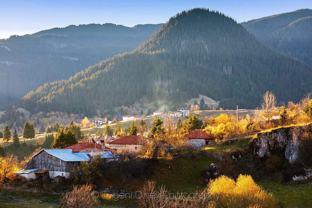 Colorful pastoral sceneat small village in the mountain