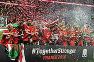 The Wales team celebrates after the match as the Wales team qualify for Euro 2016 finals in France.  Wales v Andorra, Euro 2016 qualifying match at the Cardiff city stadium  in Cardiff, South Wales  on Tuesday 13th October 2015. <br /> pic by  Andrew Orchard, Andrew Orchard sports photography.