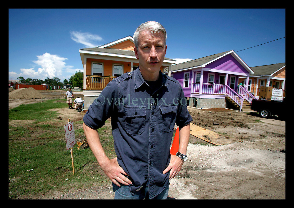 28 August 2006 - New Orleans - Louisiana. Anderson Cooper, CNN's anchor man out at The Musician's Village, a housing project under construction by habitat for humanity to house musicians and artists in the city.