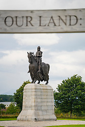 Statue of King Robert the Bruce at Bannockburn Heritage Centre in Stirling, Stirlingshire, Scotland, United Kingdom